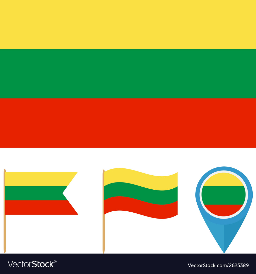 Lithuania country flag vector | Price: 1 Credit (USD $1)
