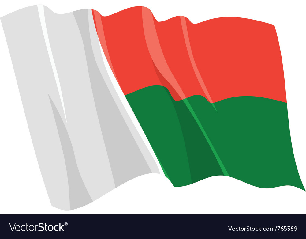 Political waving flag of madagascar vector | Price: 1 Credit (USD $1)