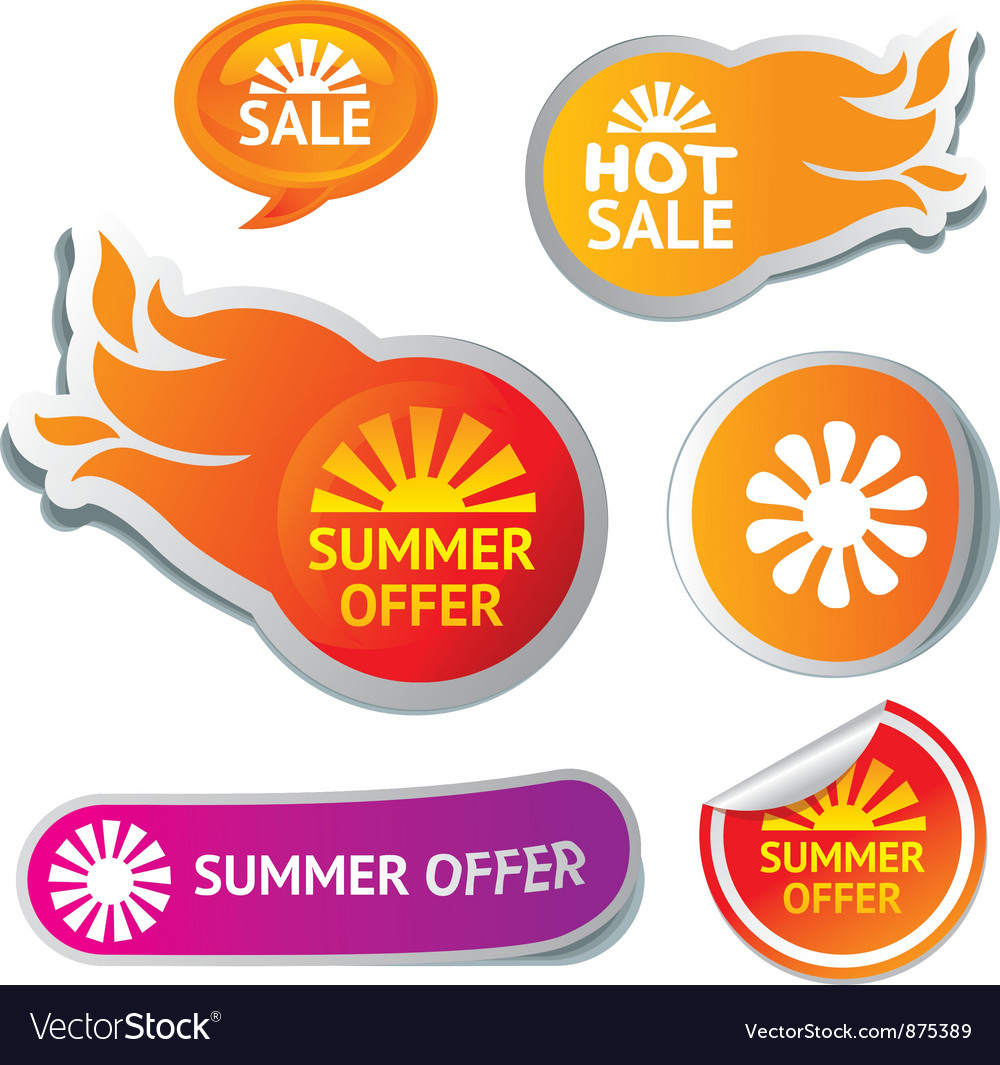Set of hot summer sale stickers - vector | Price: 1 Credit (USD $1)