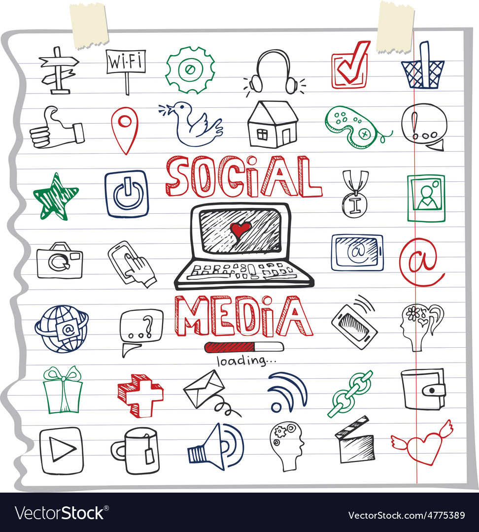 Social media word and icondoodle sketchy vector | Price: 1 Credit (USD $1)