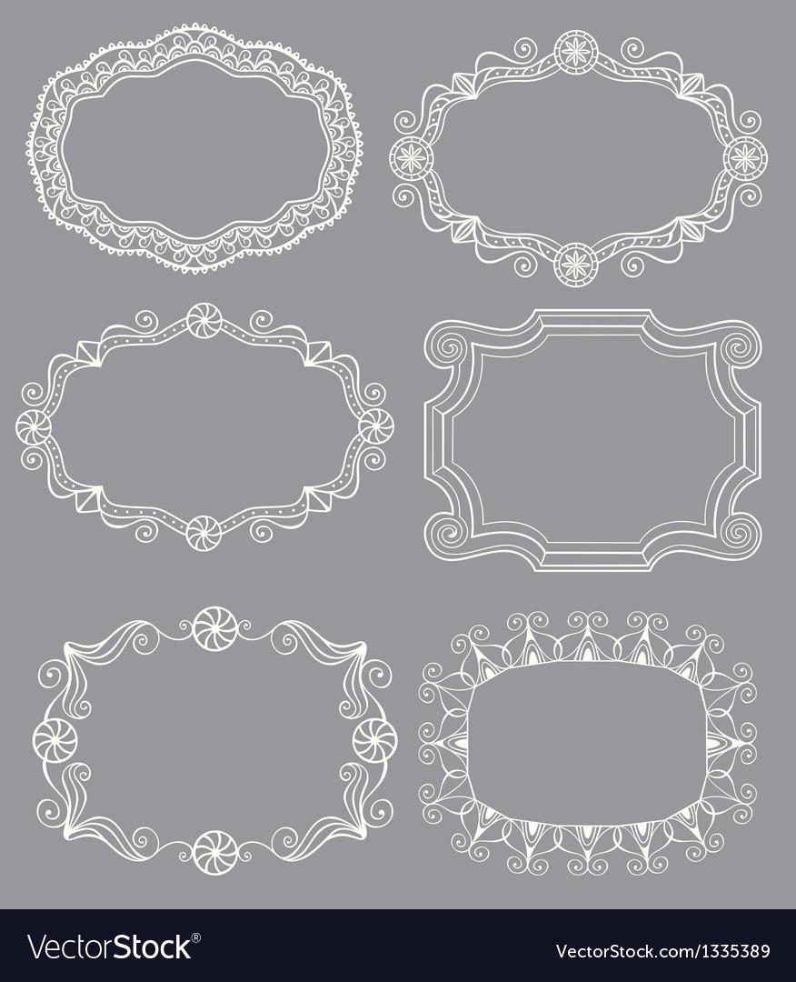 Vintage lace frames vector