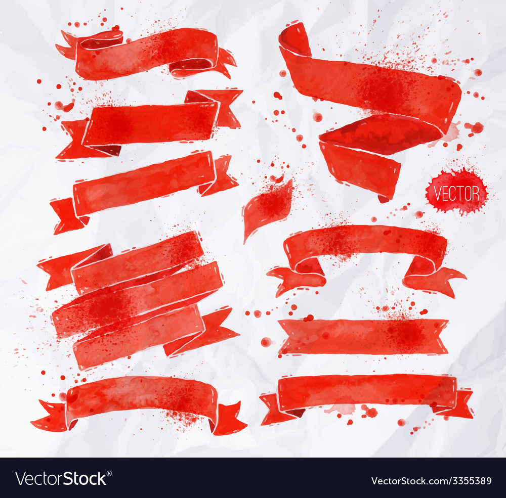 Watercolors ribbons red vector | Price: 1 Credit (USD $1)