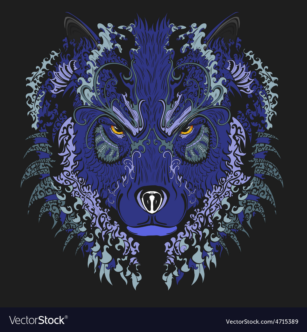 Wolf blue vector | Price: 1 Credit (USD $1)
