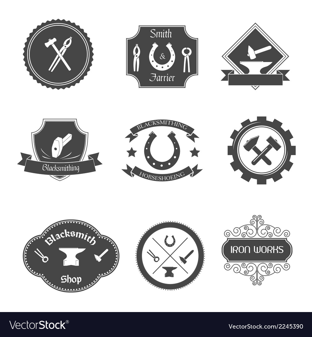 Blacksmith labels collection icons set vector | Price: 1 Credit (USD $1)
