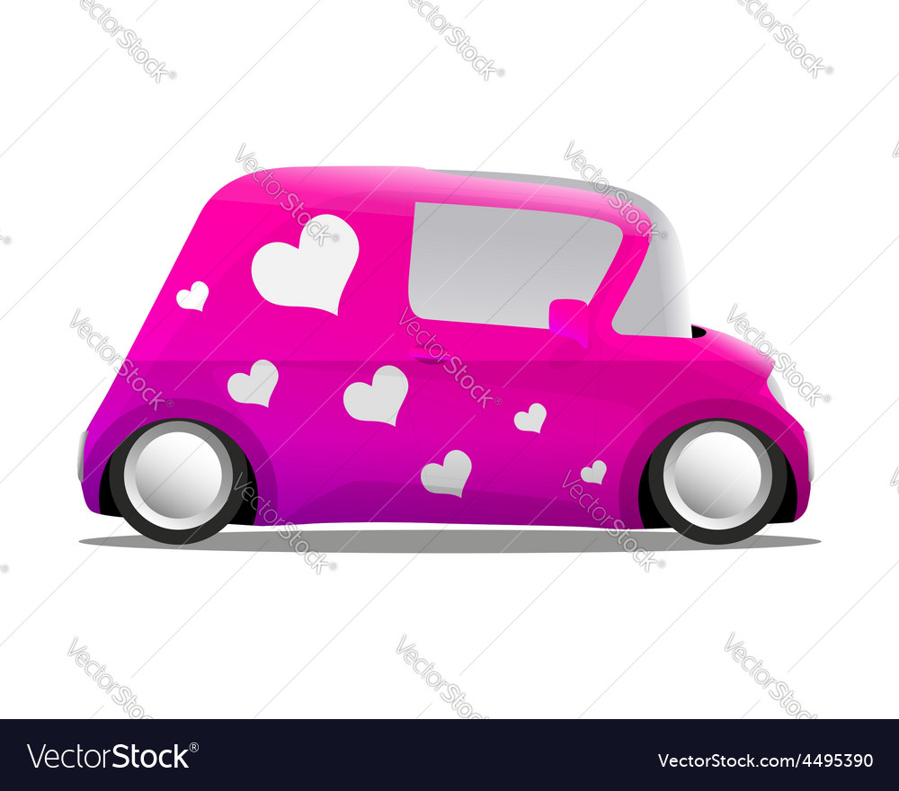 Love and heart mini cartoon car pink vector | Price: 1 Credit (USD $1)
