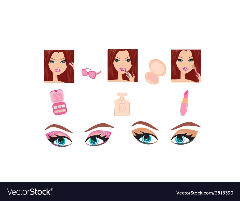 Make-up girl set vector | Price: 1 Credit (USD $1)