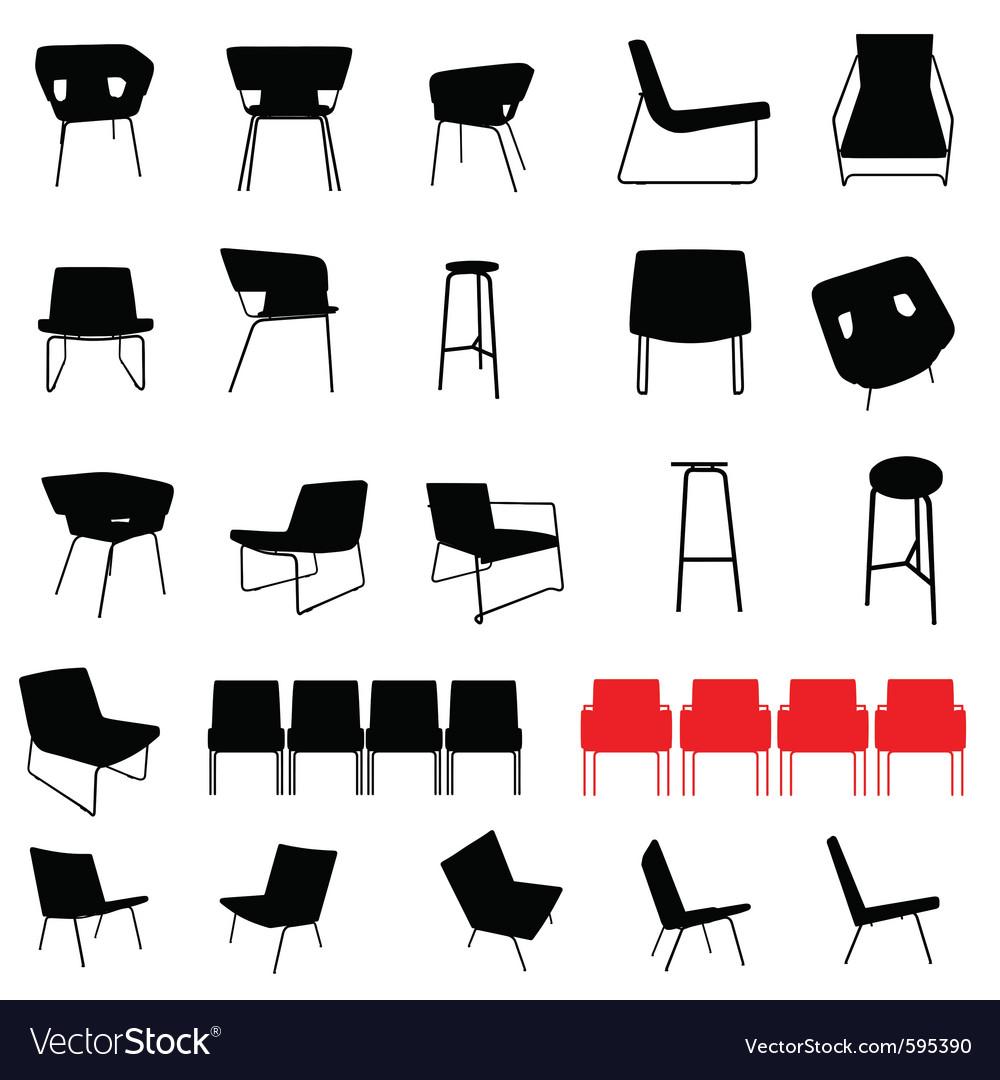 Modern furniture silhouette vector | Price: 1 Credit (USD $1)