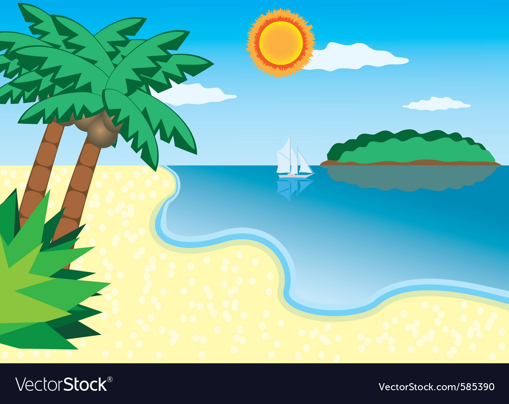 Sea beach vector | Price: 1 Credit (USD $1)