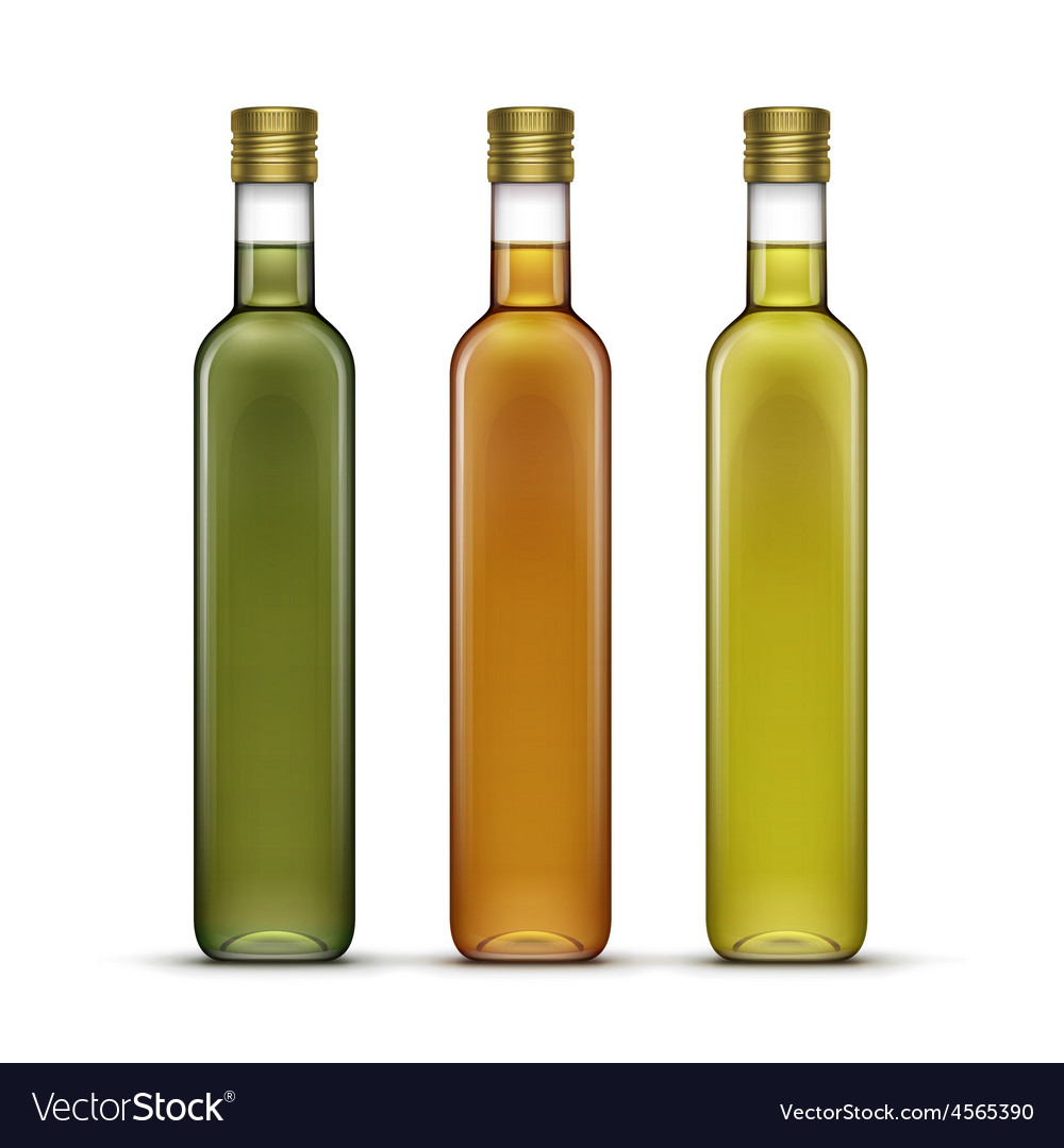Set of olive or sunflower oil glass bottles vector | Price: 3 Credit (USD $3)