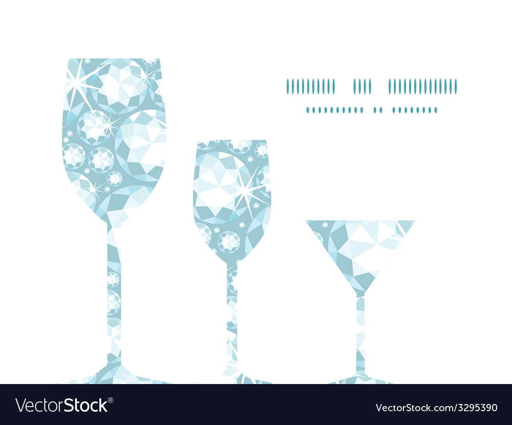 Shiny diamonds three wine glasses silhouettes vector | Price: 1 Credit (USD $1)