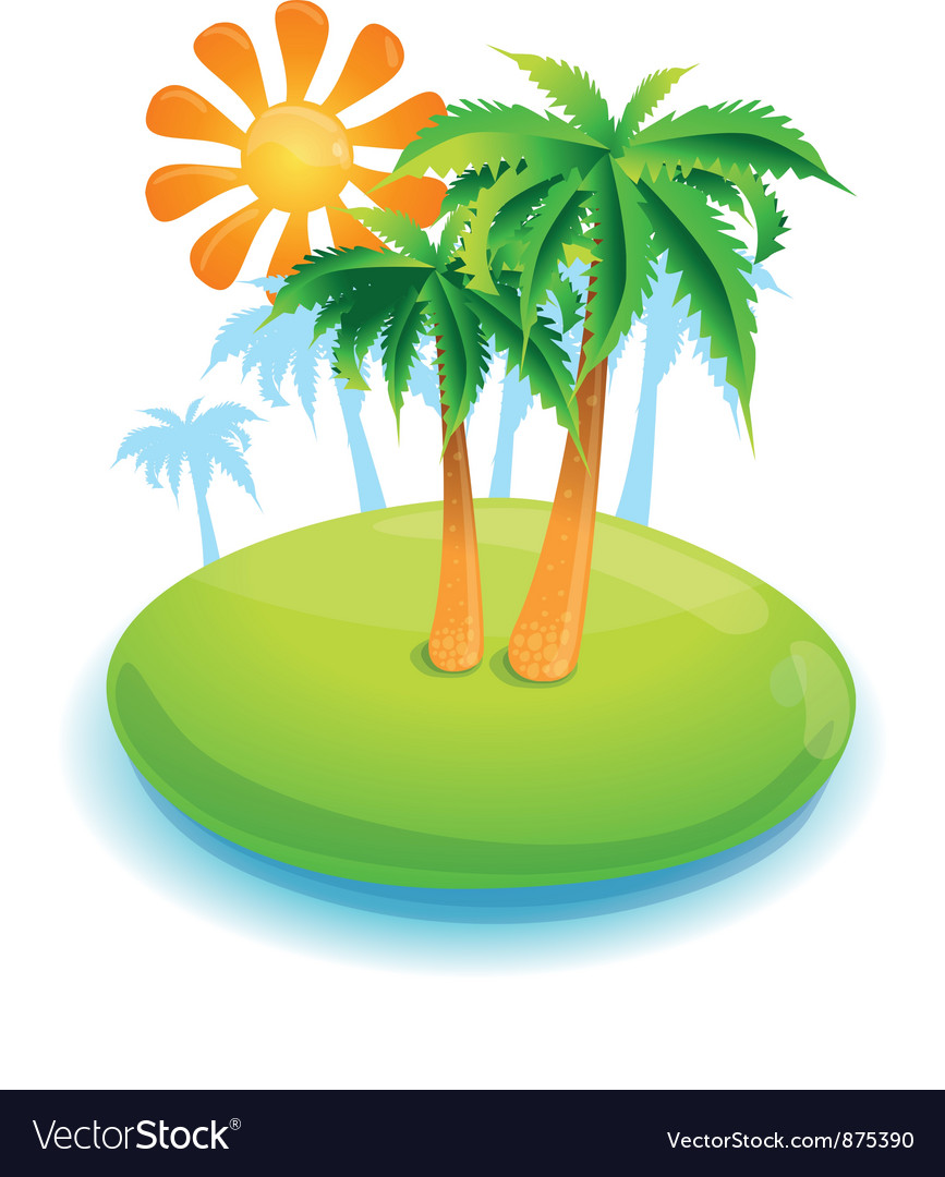 Summer concept -green island and palms - vector | Price: 1 Credit (USD $1)
