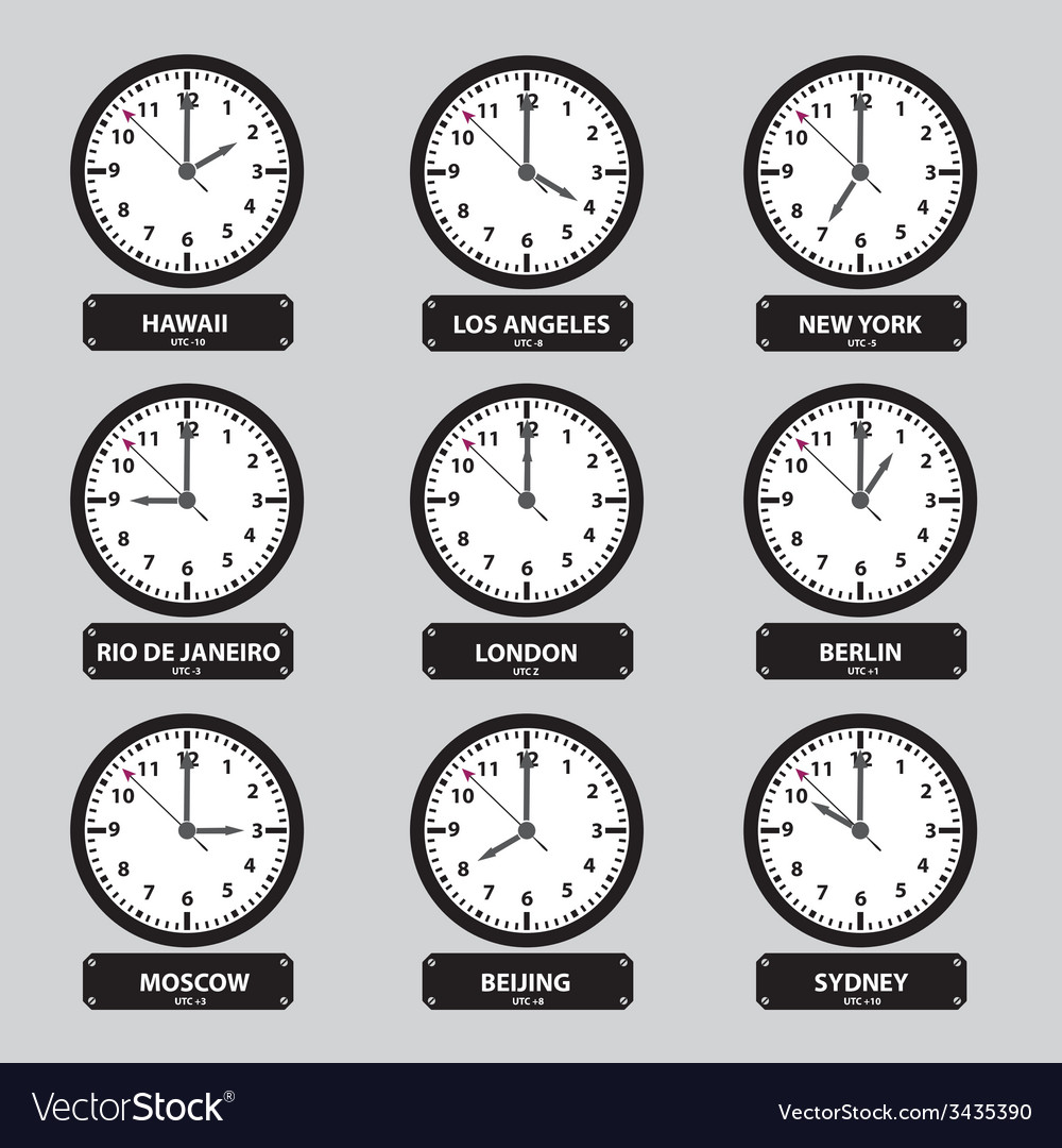 Time zones black and white clock set eps10 vector | Price: 1 Credit (USD $1)