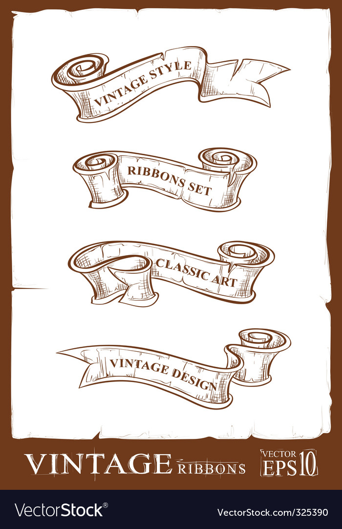 Vintage ribbons set vector | Price: 1 Credit (USD $1)