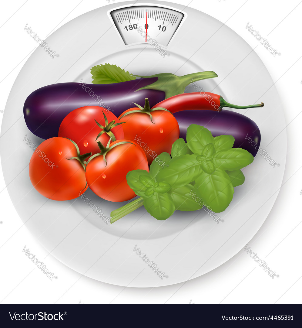 A scale with vegetables diet concept vector | Price: 3 Credit (USD $3)