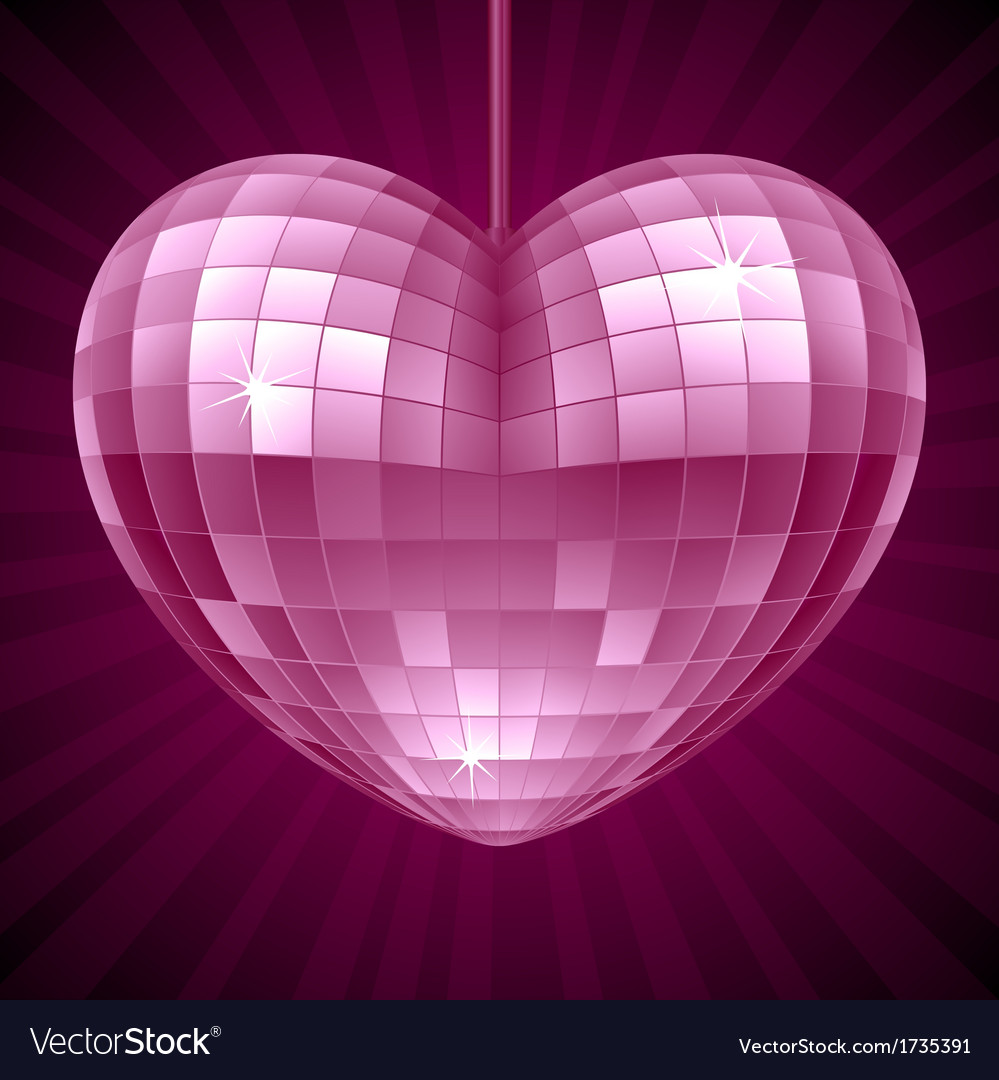 Disco heart purple mirror disco ball vector | Price: 1 Credit (USD $1)