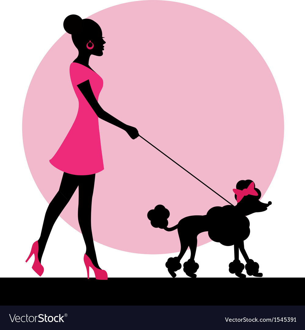Female silhouette with a dog vector | Price: 1 Credit (USD $1)
