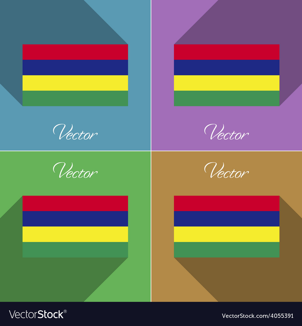 Flags mauritius set of colors flat design and long vector   Price: 1 Credit (USD $1)