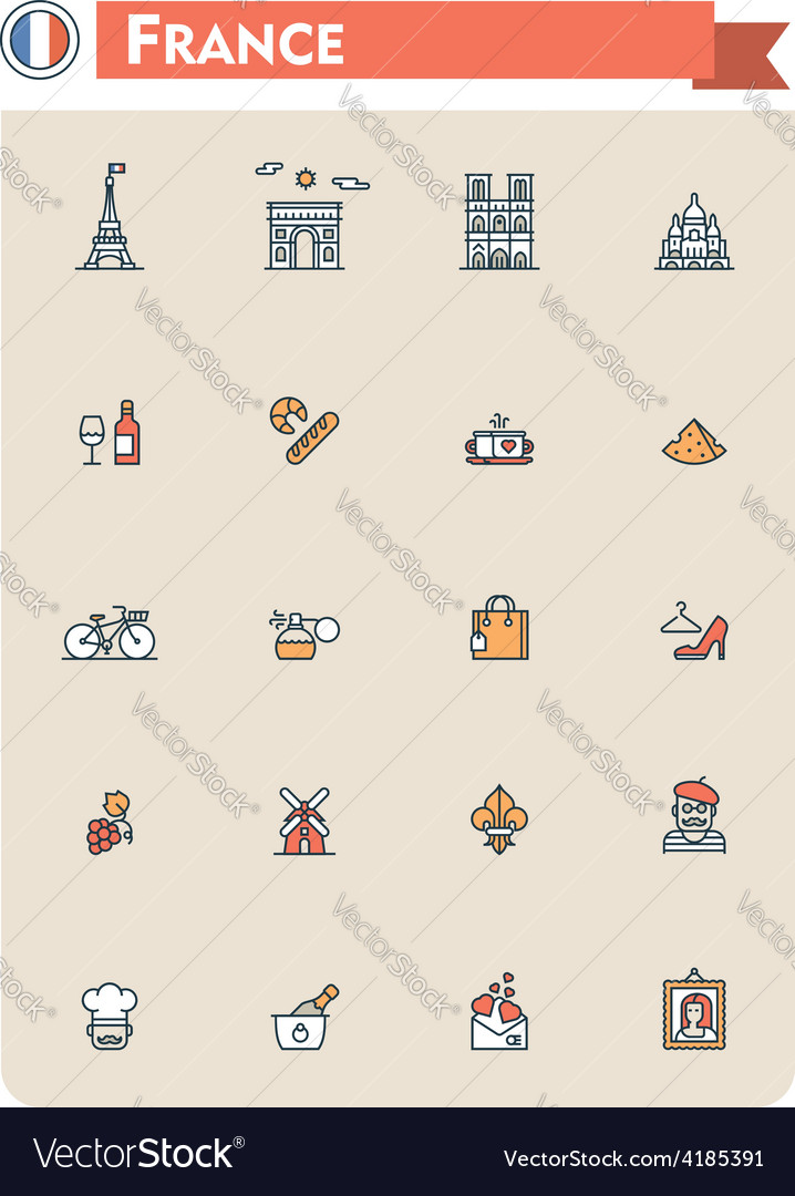 France travel icon set vector | Price: 1 Credit (USD $1)