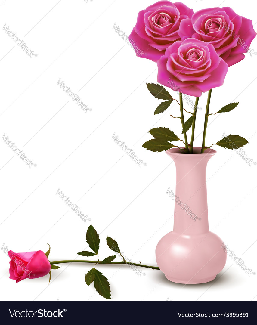 Holiday background with pink roses in a vase vector | Price: 3 Credit (USD $3)