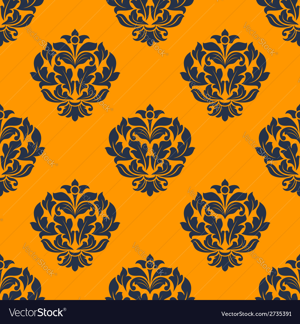 Indigo colored floral seamless pattern vector | Price: 1 Credit (USD $1)