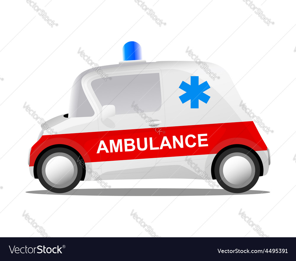 Mini car cartoon ambulance vector | Price: 1 Credit (USD $1)