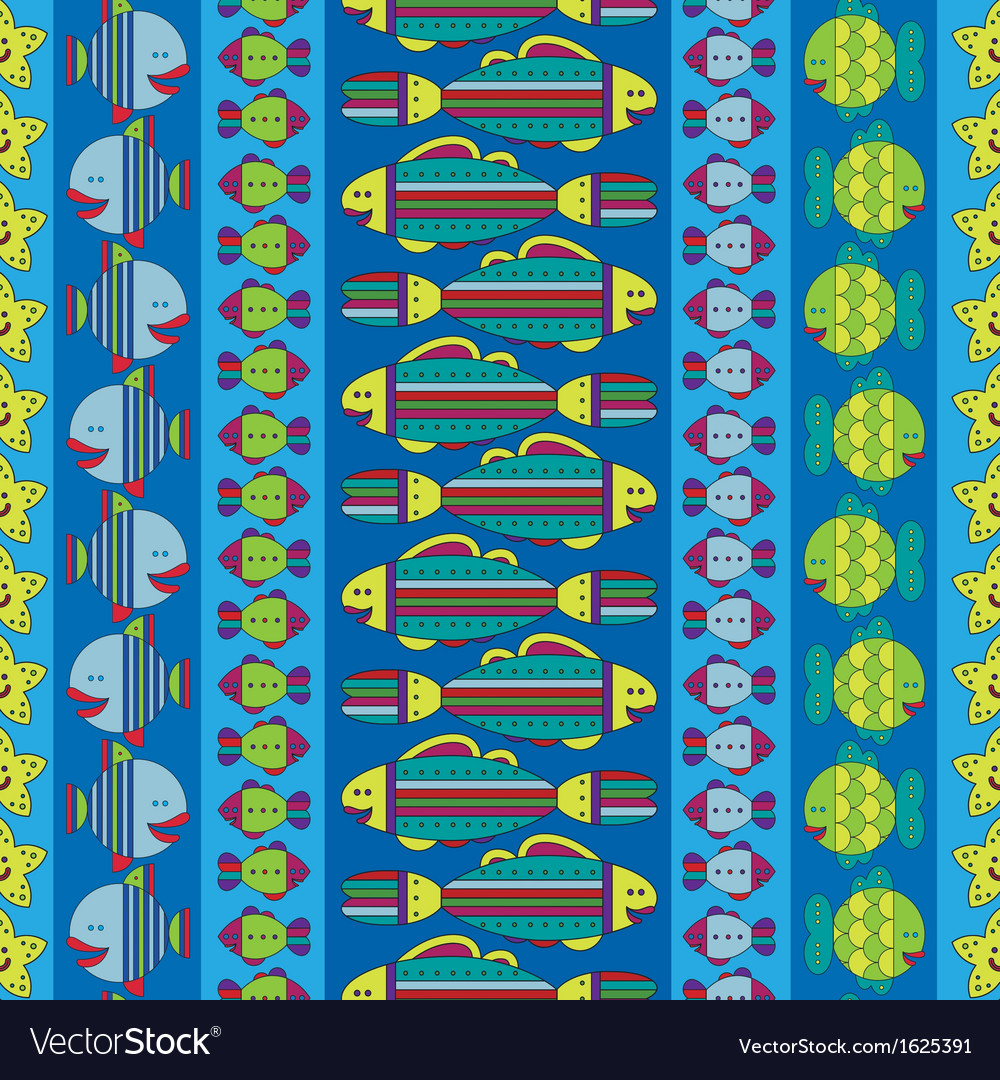 Seamless pattern with stylize fishes vector | Price: 1 Credit (USD $1)