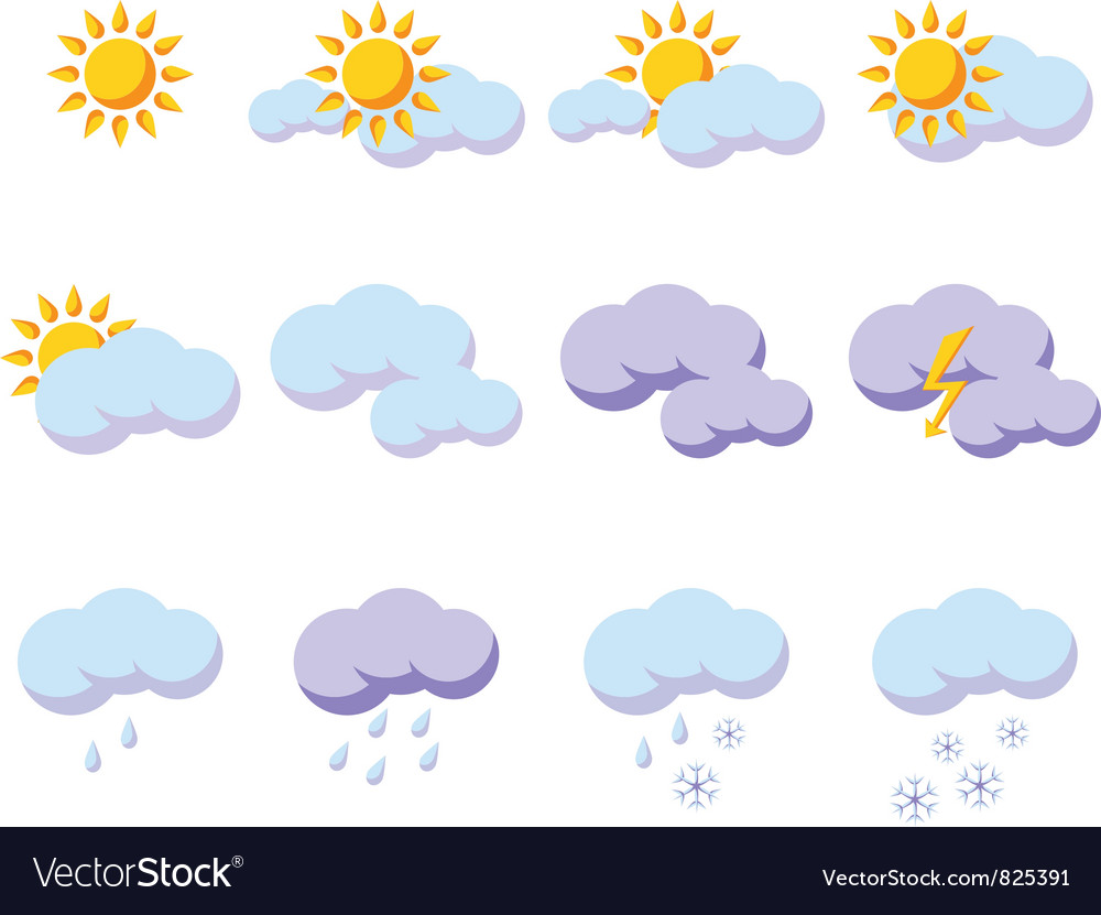 Set of weather icons vector   Price: 1 Credit (USD $1)