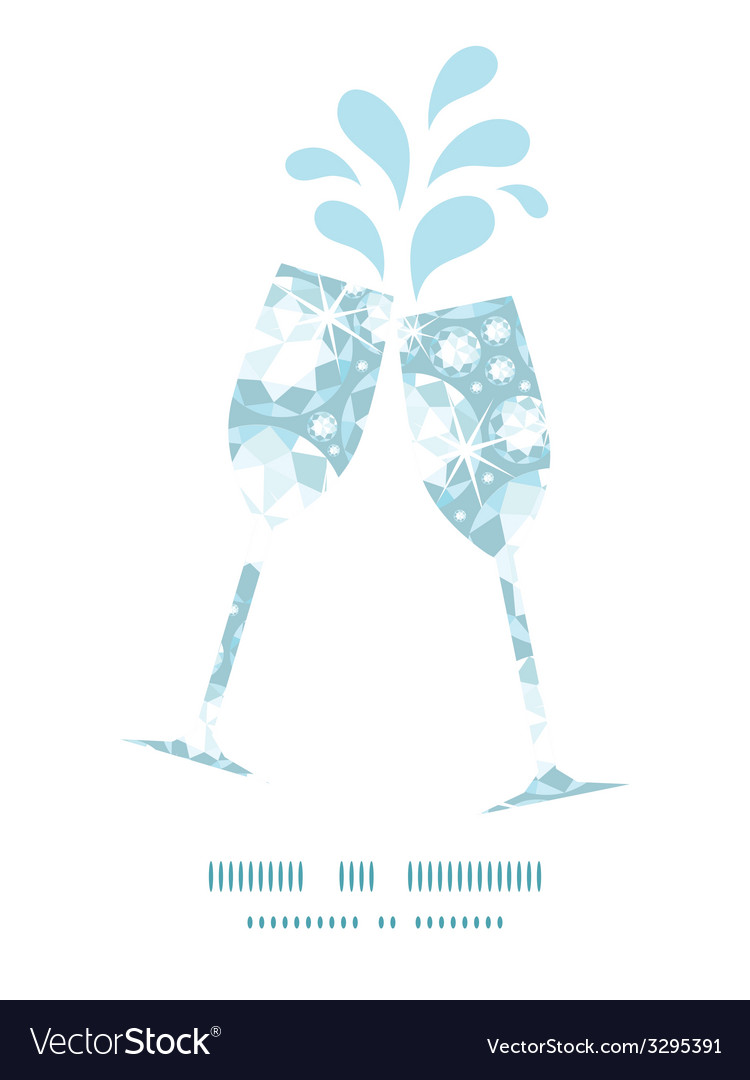 Shiny diamonds toasting wine glasses silhouettes vector | Price: 1 Credit (USD $1)