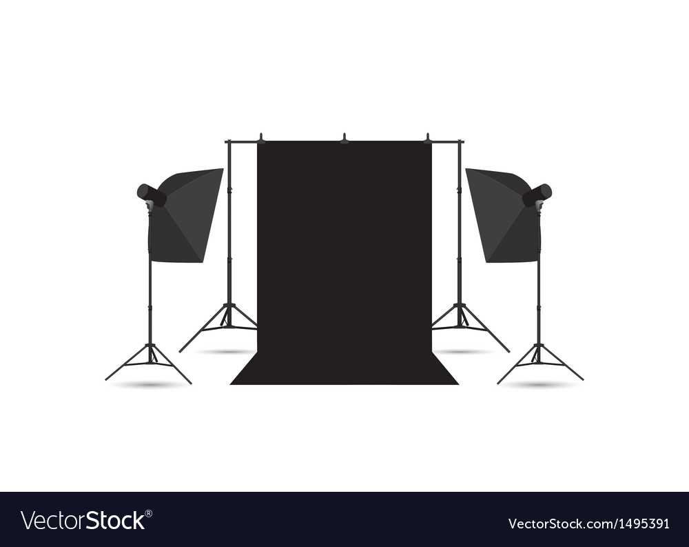 Two softboxes and black photo background isolated vector | Price: 1 Credit (USD $1)