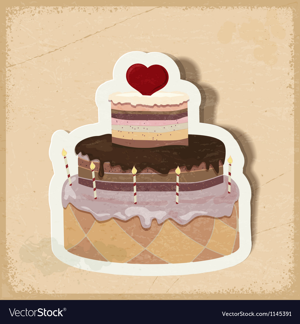 Vintage card with a cake on valentines day eps10 vector   Price: 1 Credit (USD $1)