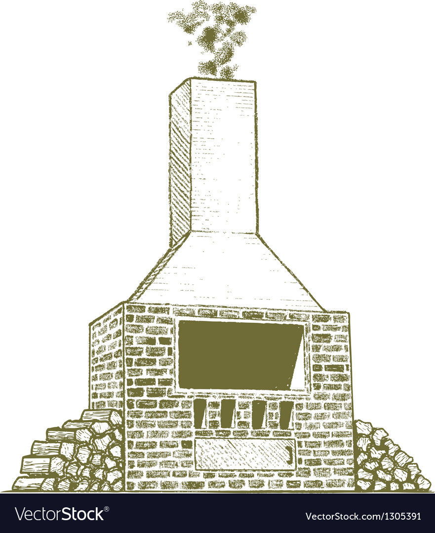 Woodcut brick oven vector | Price: 1 Credit (USD $1)