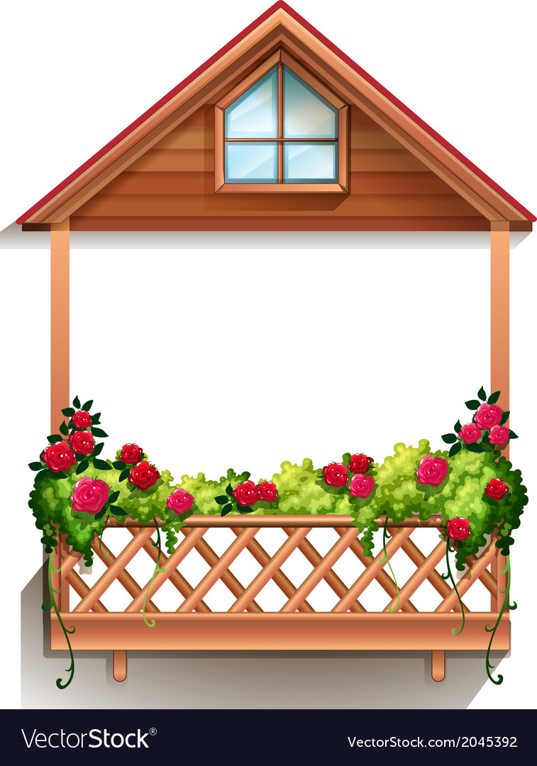 A wooden porch with plants vector | Price: 1 Credit (USD $1)