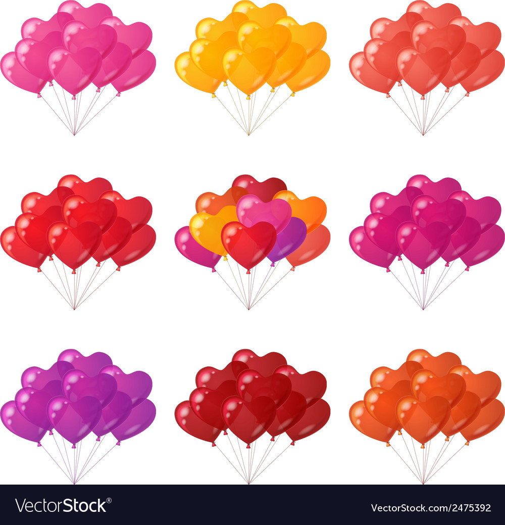 Balloons hearts bunches set vector | Price: 1 Credit (USD $1)
