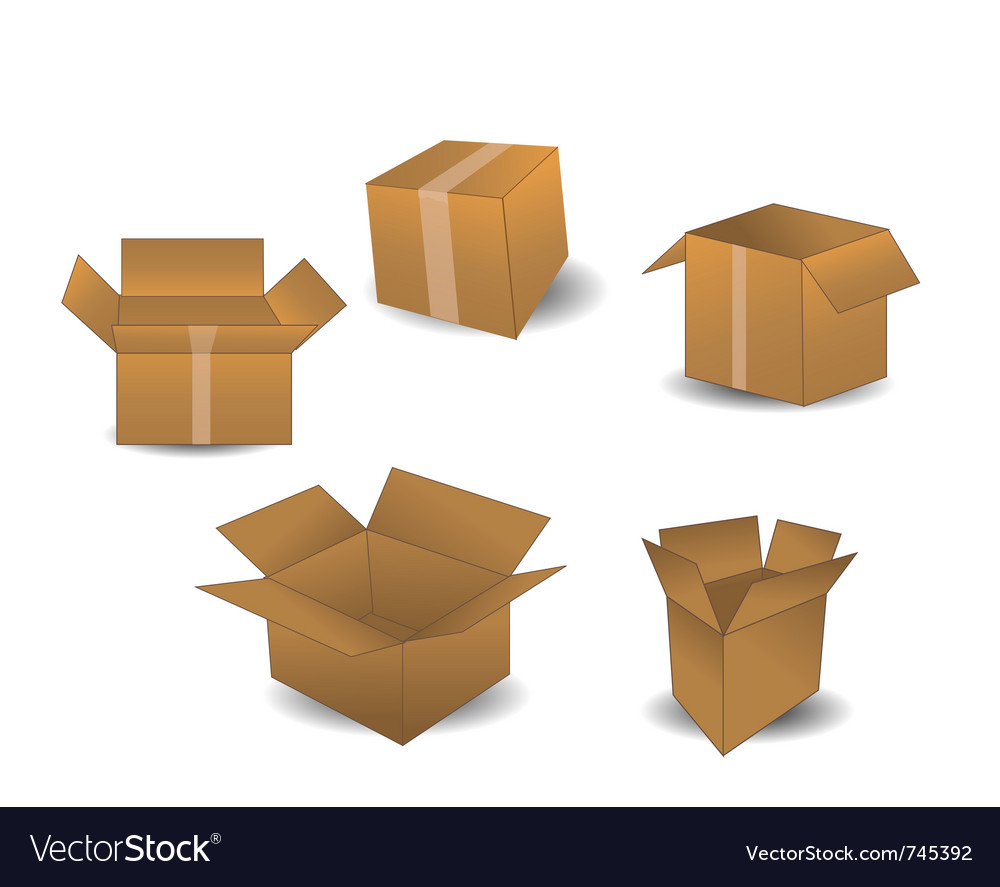 Boxes isolated on white vector | Price: 1 Credit (USD $1)