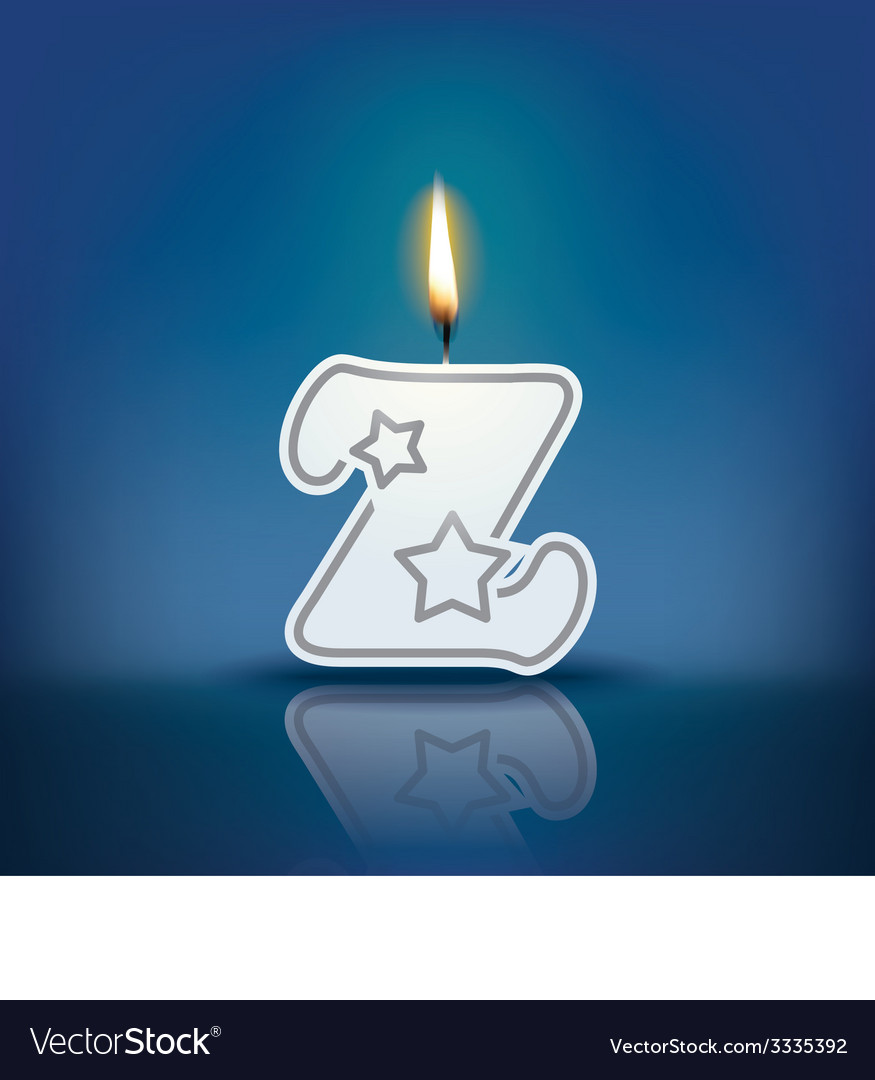 Candle letter z with flame vector   Price: 1 Credit (USD $1)
