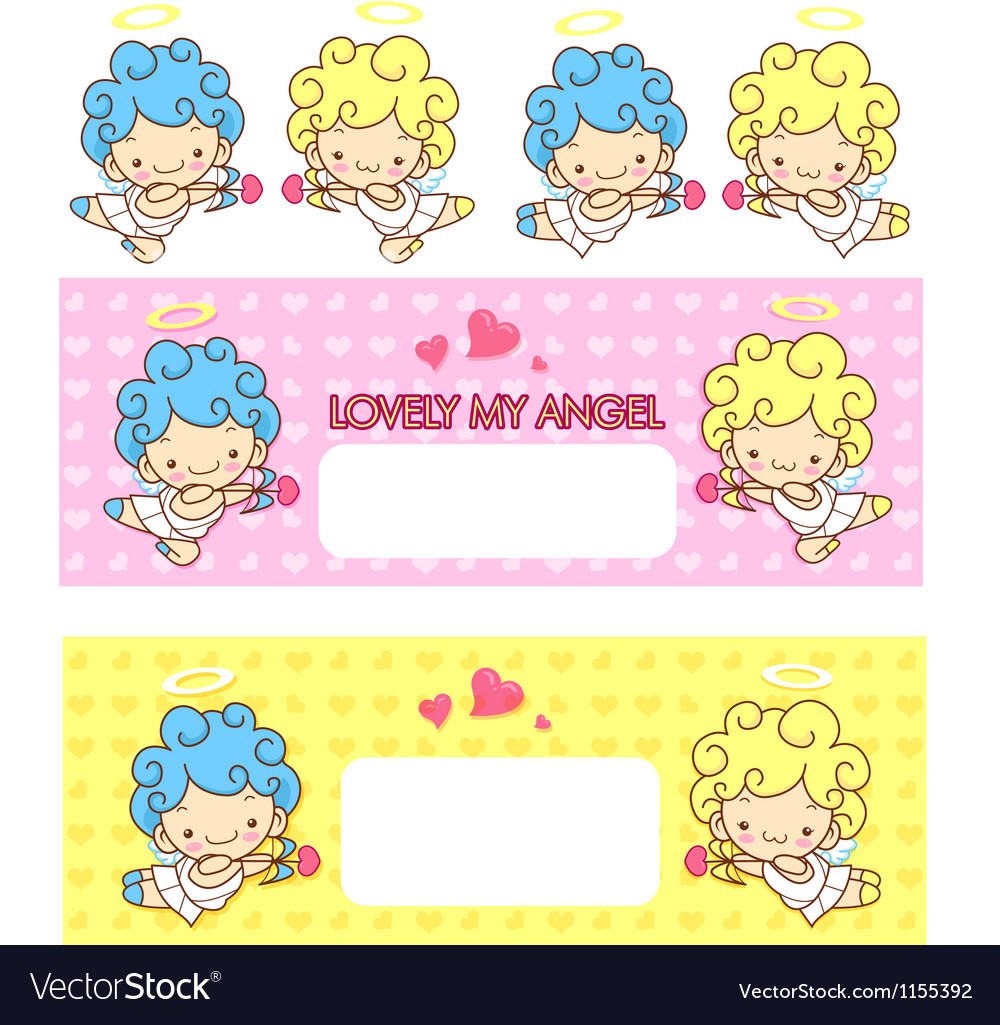 Cupid love and an baby angel mascot vector | Price: 1 Credit (USD $1)