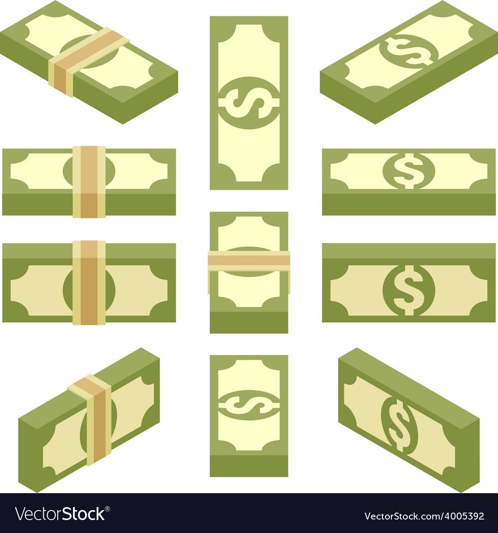 Isometric bundles of paper money vector | Price: 1 Credit (USD $1)