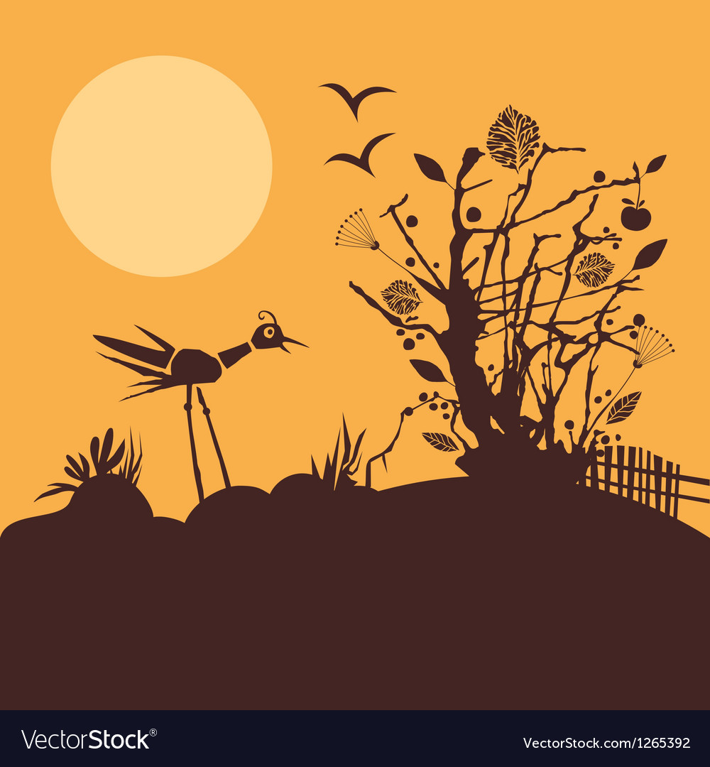 Nature scene at sunset vector | Price: 1 Credit (USD $1)