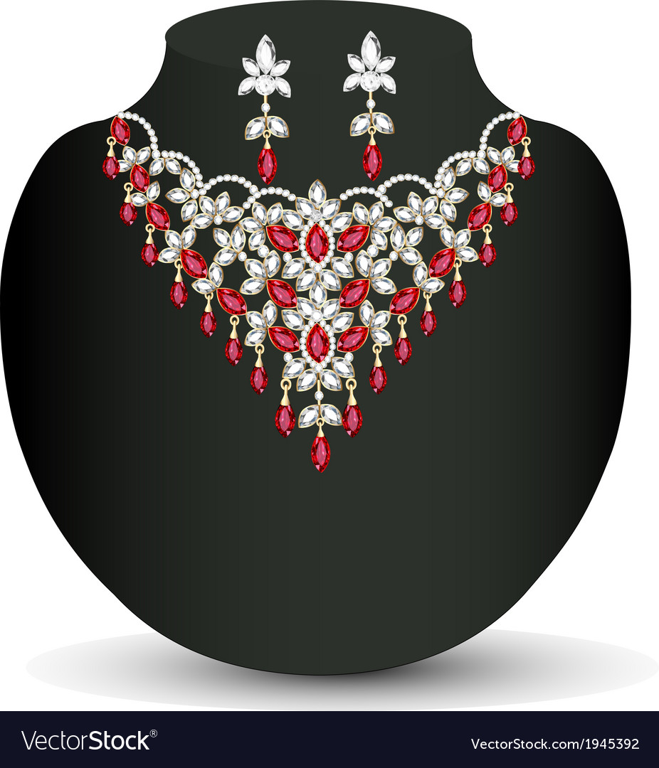 Necklace with her wedding with red vector | Price: 1 Credit (USD $1)