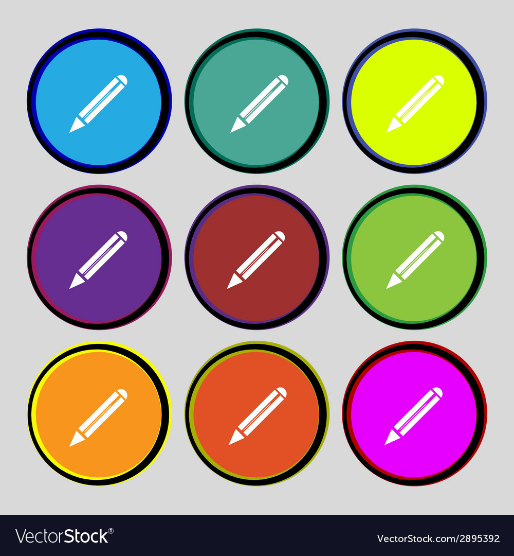 Pencil sign icon edit content button set colur vector | Price: 1 Credit (USD $1)
