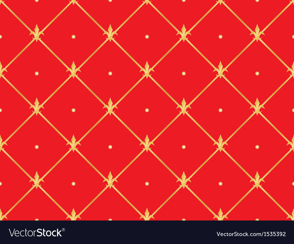 Red pattern with golden royal lilies vector | Price: 1 Credit (USD $1)