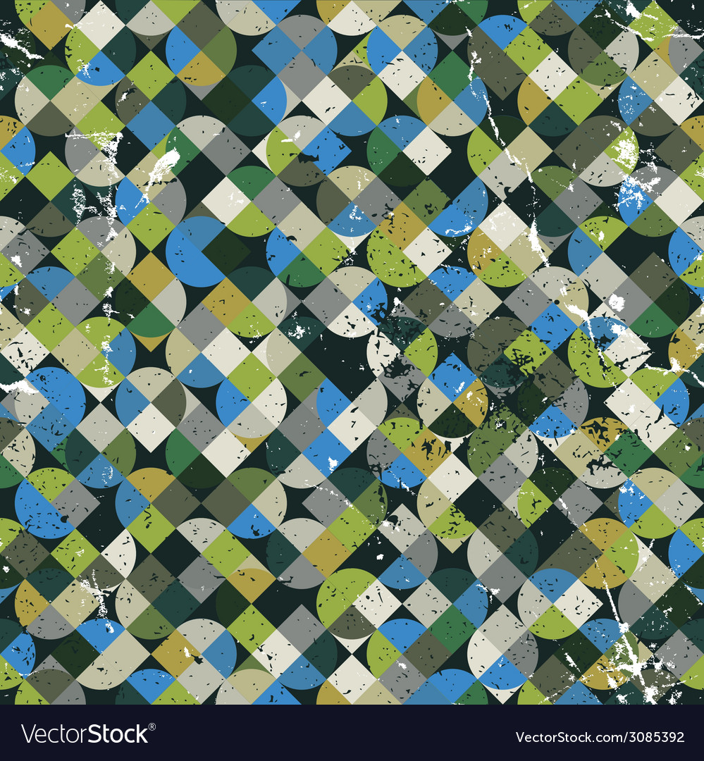 Seamless aged mosaic background in green and blue vector | Price: 1 Credit (USD $1)
