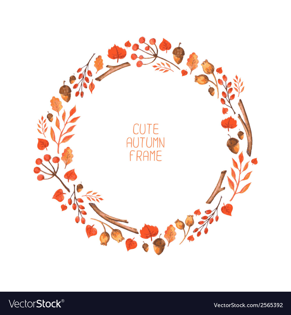 Watercolor autumn frame vector | Price: 1 Credit (USD $1)