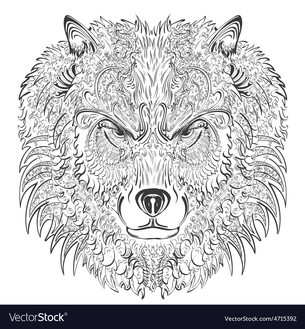 Wolf lineart vector | Price: 3 Credit (USD $3)