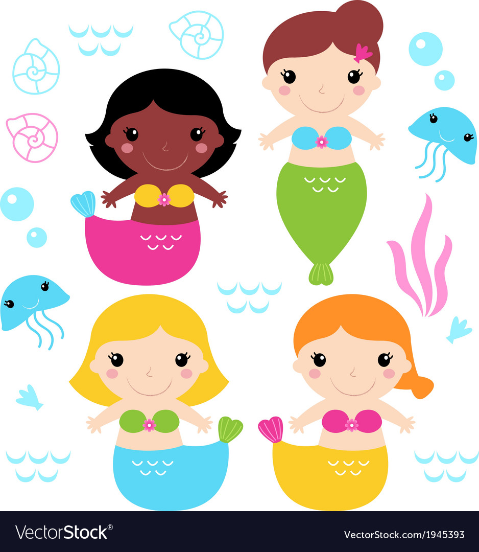 Adorable little mermaid set isolated on white vector | Price: 1 Credit (USD $1)