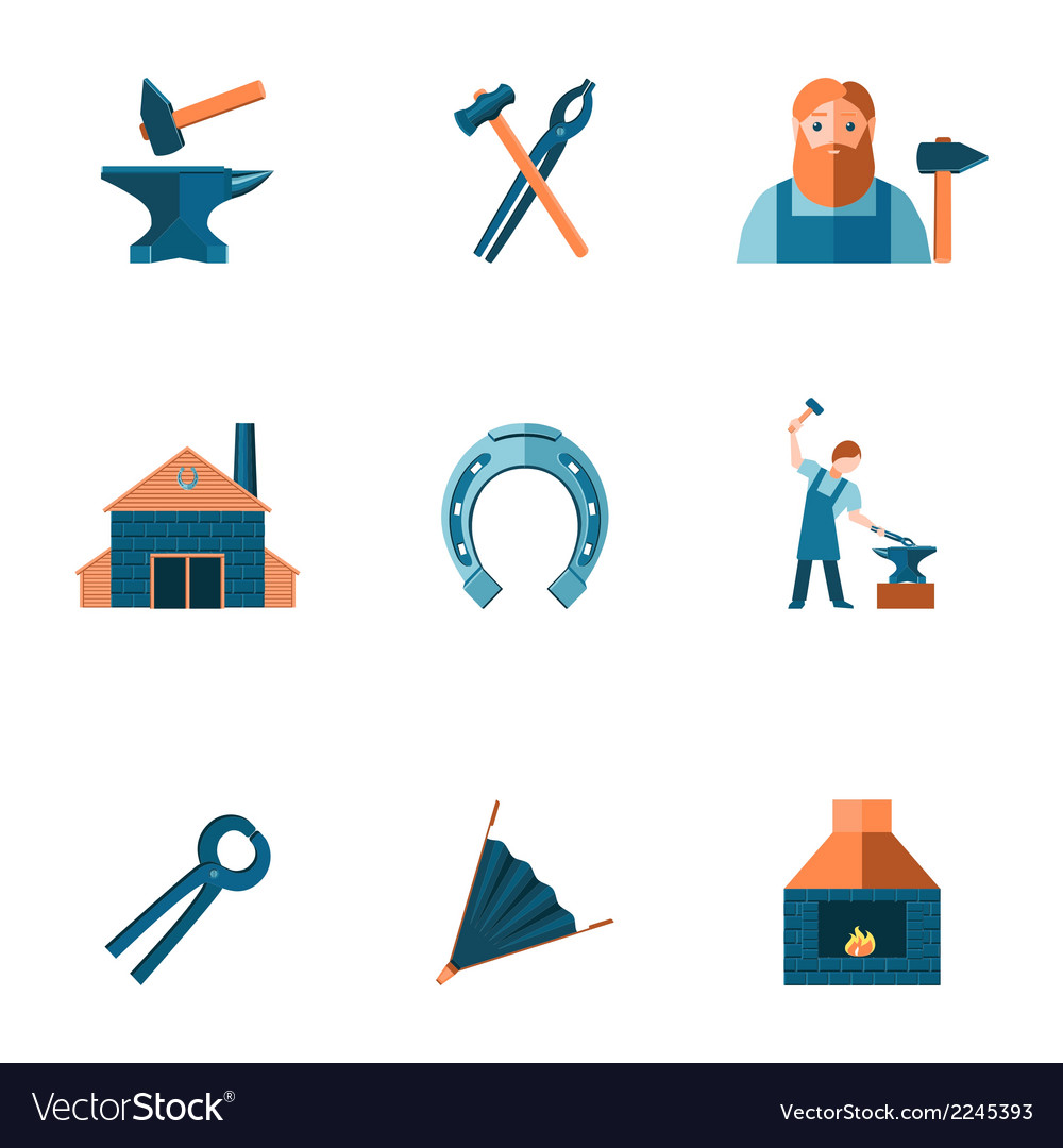 Blacksmith icon set vector | Price: 1 Credit (USD $1)