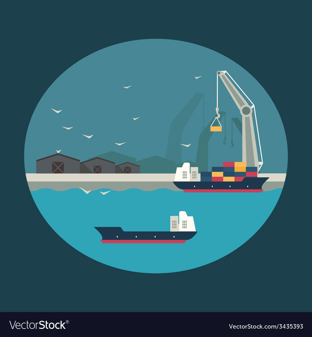 Cargo ship with working crane loading containers vector | Price: 1 Credit (USD $1)