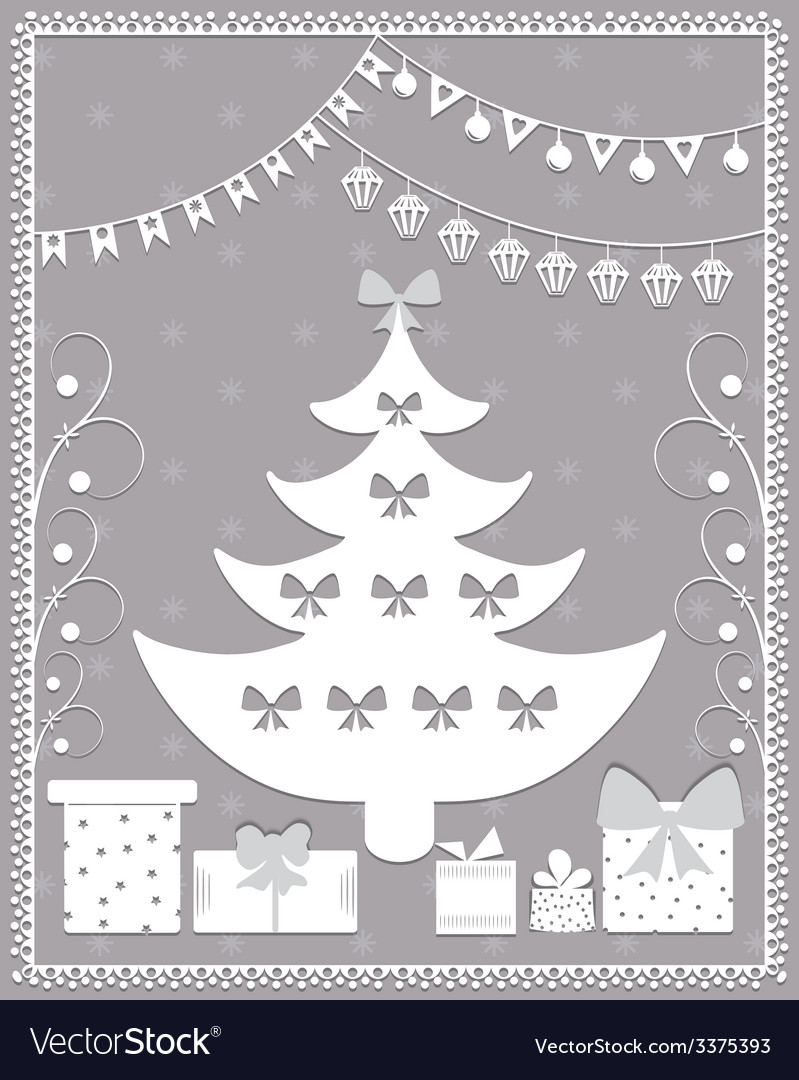 Christmas card in the style of carving paper vector | Price: 1 Credit (USD $1)