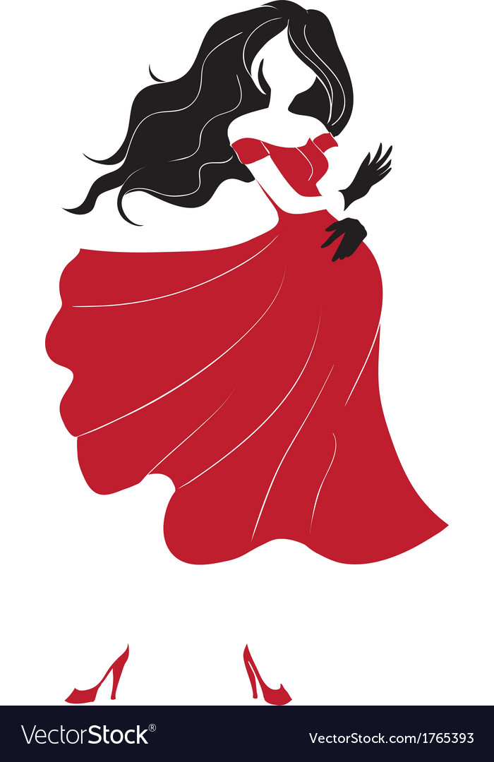 Dancing woman silhouette vector | Price: 1 Credit (USD $1)