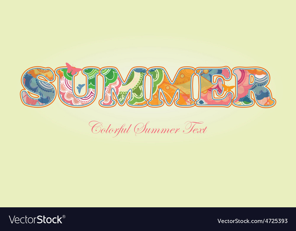 Decorative floral text summer vector | Price: 1 Credit (USD $1)